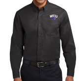 Black Twill Button Down Long Sleeve-WCU w/Head