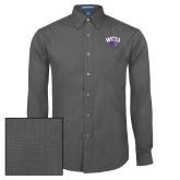 Mens Dark Charcoal Crosshatch Poplin Long Sleeve Shirt-WCU w/Head