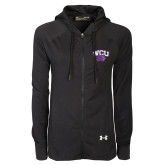 Ladies Under Armour Black Varsity Full Zip Hoodie-WCU w/Head