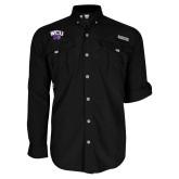 Columbia Bahama II Black Long Sleeve Shirt-WCU w/Head