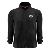 Fleece Full Zip Black Jacket-WCU w/Head
