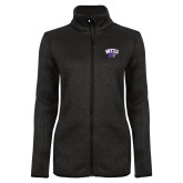 Black Heather Ladies Fleece Jacket-WCU w/Head
