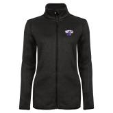 Black Heather Ladies Fleece Jacket-WCU w/Head