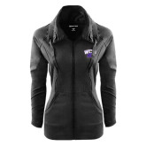 Ladies Sport Wick Stretch Full Zip Black Jacket-WCU w/Head