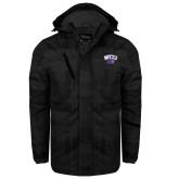Black Brushstroke Print Insulated Jacket-WCU w/Head