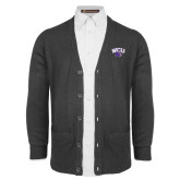 Charcoal V Neck Cardigan w/Pockets-WCU w/Head
