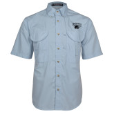 Light Blue Short Sleeve Performance Fishing Shirt-WCU w/Head Tone