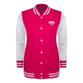 Ladies Pink Raspberry/White Fleece Letterman Jacket-WCU w/Head