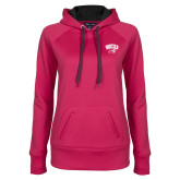 Ladies Pink Raspberry Tech Fleece Hoodie-WCU w/Head