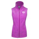 Columbia Ladies Full Zip Lilac Fleece Vest-WCU w/Head