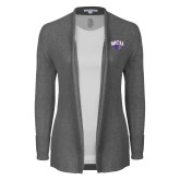 Ladies Heather Grey Open Front Cardigan-WCU w/Head