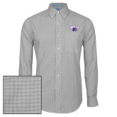 Mens Charcoal Plaid Pattern Long Sleeve Shirt-WCU w/Head