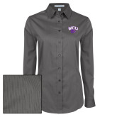 Ladies Grey Tonal Pattern Long Sleeve Shirt-WCU w/Head