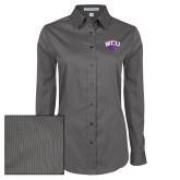 Ladies Grey Tonal Pattern Long Sleeve Shirt-WCU w/Head