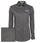 Ladies Grey Tonal Pattern Long Sleeve Shirt-Western Carolina Catamounts