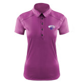 Ladies Ogio Deep Purple Pleated Back Polo-WCU w/Head