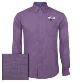 Mens Deep Purple Crosshatch Poplin Long Sleeve Shirt-WCU w/Head