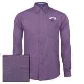Mens Deep Purple Crosshatch Poplin Long Sleeve Shirt-WCU w/Head
