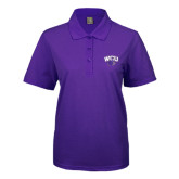 Ladies Easycare Purple Pique Polo-WCU w/Head