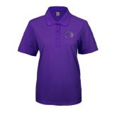 Ladies Easycare Purple Pique Polo-Catamount Head