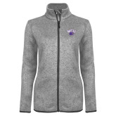 Grey Heather Ladies Fleece Jacket-WCU w/Head
