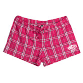 Ladies Dark Fuchsia/White Juniors Flannel Plaid Boxer-WCU w/Head