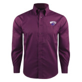 Red House Deep Purple Herringbone Non Iron Long Sleeve Shirt-WCU w/Head