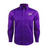 Red House Deep Purple Herringbone Non Iron Long Sleeve Shirt-Western Carolina Catamounts