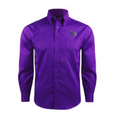 Red House Deep Purple Herringbone Non Iron Long Sleeve Shirt-Catamount Head