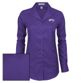 Ladies Red House Deep Purple Herringbone Non Iron Long Sleeve Shirt-WCU w/Head