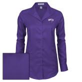 Ladies Red House Deep Purple Herringbone Long Sleeve Shirt-WCU w/Head