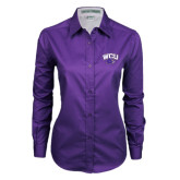 Ladies Purple Twill Button Down Long Sleeve-WCU w/Head