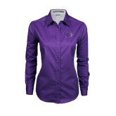 Ladies Purple Twill Button Down Long Sleeve-Catamount Head