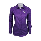 Ladies Purple Twill Button Down Long Sleeve-WCU