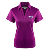 Ladies Purple Performance Fine Jacquard Polo-WCU w/Head