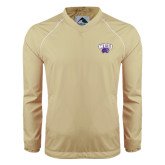 Colorblock V Neck Vegas Gold/White Raglan Windshirt-WCU w/Head