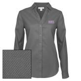 Ladies Red House Non Iron Diamond Dobby Dark Charcoal Long Sleeve Shirt-Western Carolina Catamounts