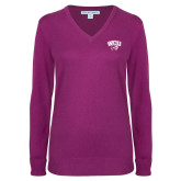 Ladies Deep Berry V Neck Sweater-WCU w/Head
