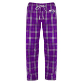 Ladies Purple/White Flannel Pajama Pant-WCU w/Head