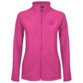 Ladies Fleece Full Zip Raspberry Jacket-WCU w/Head Tone