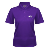 Ladies Purple Dry Mesh Polo-WCU w/Head