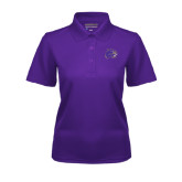 Ladies Purple Dry Mesh Polo-Catamount Head