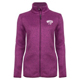 Dark Pink Heather Ladies Fleece Jacket-WCU w/Head