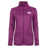 Dark Pink Heather Ladies Fleece Jacket-WCU w/Head