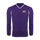 Colorblock V Neck Purple/White Raglan Windshirt-Western Carolina Catamounts