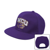 Purple Twill Flat Bill Snapback Hat-WCU w/Head