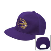 Purple Flat Bill Snapback Hat-Catamount Head