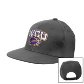 Steel Grey Flat Bill Snapback Hat-WCU w/Head