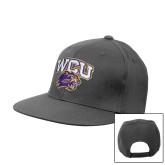 Charcoal Flat Bill Snapback Hat-WCU w/Head