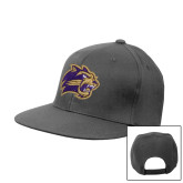 Charcoal Flat Bill Snapback Hat-Catamount Head